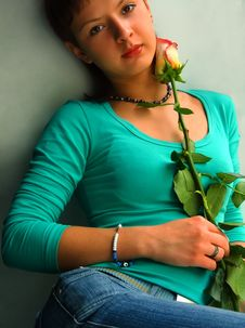 Free Girl With Rose Stock Photo - 1052710