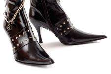 Black Leather Boots Stock Photography