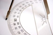 Free Ruler And Compasses Royalty Free Stock Photo - 1055935