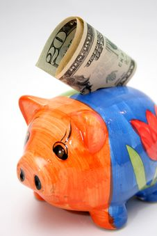 Free Twenty Dollar And Piggy Stock Photography - 1056382