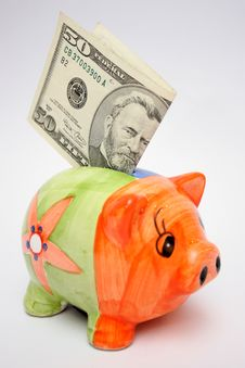 Free Fifty Dollar And Piggy Stock Photo - 1056400