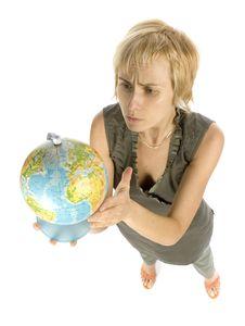 Free Woman With Globe Royalty Free Stock Photos - 1058598