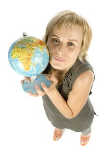 Free Woman With Globe Royalty Free Stock Photography - 1058607