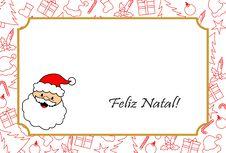 Free Cartão De Natal Com Papai Noel E Enfeites Natalinos Stock Photo - 105141630