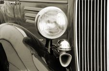 Vintage Car Detail. Sepia Royalty Free Stock Image