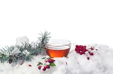 Cup Of Tea In The Snow On White Background Royalty Free Stock Images