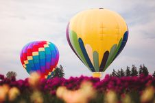 Free Two Assorted Color Hot Air Balloons Stock Photo - 105661870