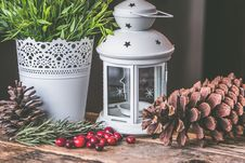 Free Candle Lantern Beside Pine C One And Green Leaf Plant Royalty Free Stock Photo - 105823725