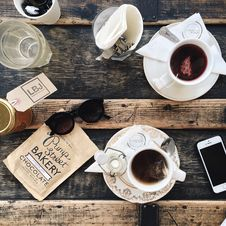 Free Top View Of Tea On Wooden Table Royalty Free Stock Image - 105823946