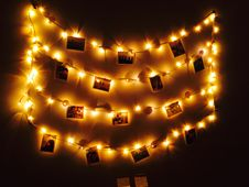 Free Lit Hanging Photo Frames Royalty Free Stock Image - 105911686