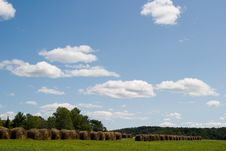 Blue Skies And Bales Of Hay Royalty Free Stock Photo