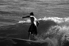 Surfer In Black And White3 Stock Photo