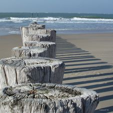 Free Poles On Beach Stock Image - 1067921