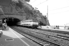 Free Train Speeding Through Station Royalty Free Stock Photo - 1068135