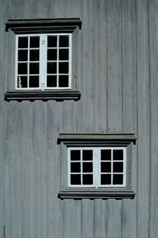 Free Two Windows On A Gray Wall Stock Photo - 1069250