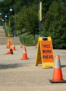 Free Tree Work Ahead Sign Stock Photo - 1069380