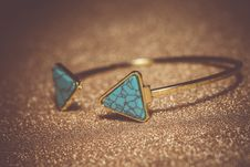 Gold Bracelet With Blue Turquoise Royalty Free Stock Photo