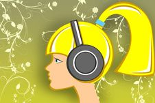 Free Blonde Girl With Head-phones Stock Photography - 10623812