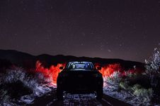 Free Vehicle On Road Along Green Grass During Night Royalty Free Stock Image - 106306426