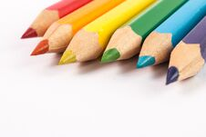 Wooden Colored Pencils On White Background With Free Space Royalty Free Stock Photography