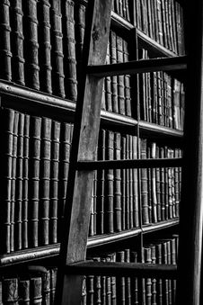 Free Grayscale Photography Of Ladder Near Bookshelf Royalty Free Stock Photography - 106363857