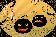 Free Halloween Pumpkins And Candles Stylish Illustratio Royalty Free Stock Images - 10645909