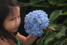 Asian Chinese Girl Holding Flower Stock Photography
