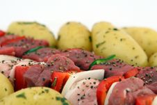 Turkish Beef, Lamb, And Pork Kebabs With Potato On Skewers Stock Image