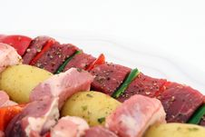 Free Turkish Beef, Lamb, And Pork Kebabs With Potato On Skewers Stock Photography - 1070492