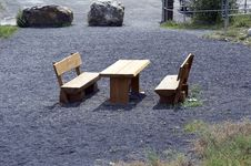 Free Picnic Area With Bench And Table Stock Image - 1071941