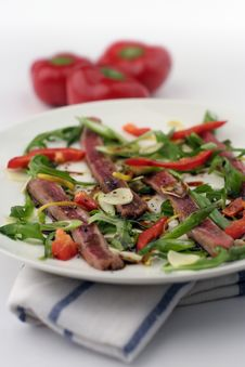 Beef Carpaccio; 3 Capsicum, Shallow DOF, Tall Stock Images