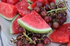 Free Watermelon And Red Grapes Royalty Free Stock Image - 1073706