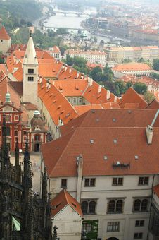 Free Prague Tile Roofs And River View Stock Photos - 1076143