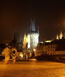 Free Charles Bridge At Night Royalty Free Stock Photography - 1076207