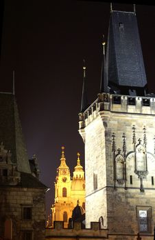 Free Charles Bridge Tower   At Night Royalty Free Stock Images - 1076209