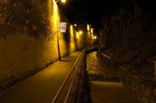 Free Path Along Wall At Night Stock Photography - 1077722