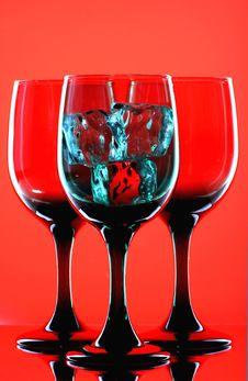 Free 3 Glasses & 3 Ice Cubes Stock Photos - 1077833
