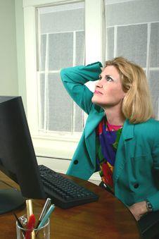Beautiful Business Woman Thinking Royalty Free Stock Photos