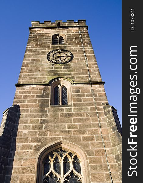 English Church Tower and clock.