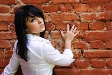 Free Woman Near The Brick Wall Stock Images - 10718994