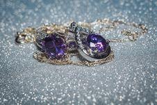 Silver Pendant With Purple Zircon Royalty Free Stock Image