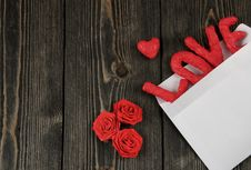 Free Word LOVE On Wooden Background. Concept Of Valentine`s Day. Stock Photo - 107375070