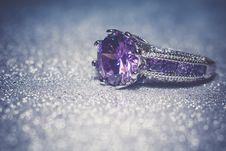 Silver Ring With Purple Zircon Retro Stock Photos