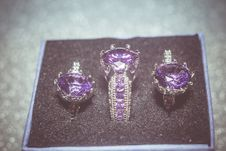 Free Silver Ring With Purple Zircon Retro Stock Image - 107650571