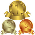 Free Gold, Silver And Bronze Medals (vector) Royalty Free Stock Photography - 10785837