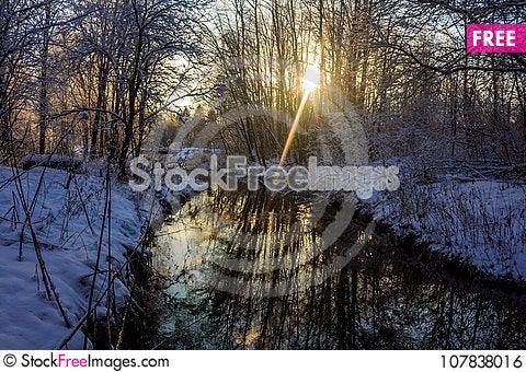 Free Winter Frosty Sunny Landscape Royalty Free Stock Image - 107838016