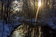 Winter Frosty Sunny Landscape Royalty Free Stock Photo