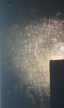 Free Fireworks Over A Building Royalty Free Stock Image - 1082346