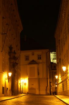 Free Prague Street At Night Stock Images - 1083844