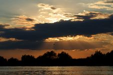 Free Dramatic Sunset On The Danube River Landscape Stock Photos - 1084203